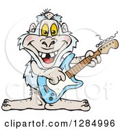 Clipart Of A Cartoon Happy Yeti Playing An Electric Guitar Royalty Free Vector Illustration by Dennis Holmes Designs