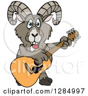 Clipart Of A Cartoon Happy Bighorn Sheep Playing An Acoustic Guitar Royalty Free Vector Illustration