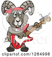 Clipart Of A Cartoon Happy Bighorn Sheep Playing An Electric Guitar Royalty Free Vector Illustration