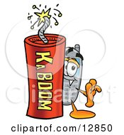 Wireless Cellular Telephone Mascot Cartoon Character Standing With A Lit Stick Of Dynamite