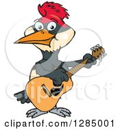 Cartoon Happy Woodpecker Playing An Acoustic Guitar