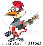 Cartoon Happy Woodpecker Playing An Electric Guitar