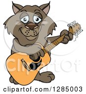 Clipart Of A Cartoon Happy Wombat Playing An Acoustic Guitar Royalty Free Vector Illustration by Dennis Holmes Designs
