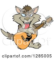 Clipart Of A Cartoon Happy Wolf Playing An Acoustic Guitar Royalty Free Vector Illustration