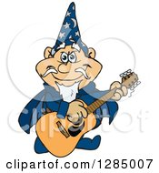 Clipart Of A Cartoon Happy Wizard Playing An Acoustic Guitar Royalty Free Vector Illustration by Dennis Holmes Designs
