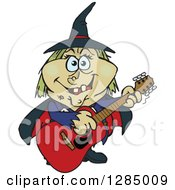Clipart Of A Cartoon Happy Witch Playing An Acoustic Guitar Royalty Free Vector Illustration by Dennis Holmes Designs
