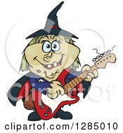 Clipart Of A Cartoon Happy Witch Playing An Electric Guitar Royalty Free Vector Illustration by Dennis Holmes Designs
