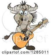 Clipart Of A Cartoon Happy Wildebeest Playing An Acoustic Guitar Royalty Free Vector Illustration by Dennis Holmes Designs