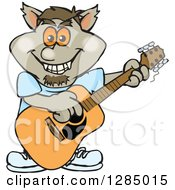 Clipart Of A Cartoon Happy Werewolf Playing An Acoustic Guitar Royalty Free Vector Illustration