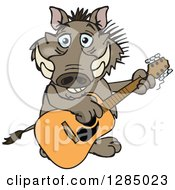 Clipart Of A Cartoon Happy Warthog Playing An Acoustic Guitar Royalty Free Vector Illustration by Dennis Holmes Designs
