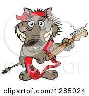 Clipart Of A Cartoon Happy Warthog Playing An Electric Guitar Royalty Free Vector Illustration