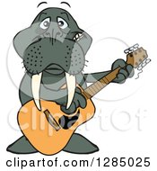Clipart Of A Cartoon Happy Walrus Playing An Acoustic Guitar Royalty Free Vector Illustration by Dennis Holmes Designs