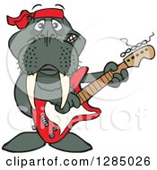 Clipart Of A Cartoon Happy Walrus Playing An Electric Guitar Royalty Free Vector Illustration