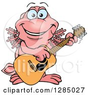 Cartoon Happy Walking Fish Playing An Acoustic Guitar