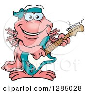 Clipart Of A Cartoon Happy Walking Fish Playing An Electric Guitar Royalty Free Vector Illustration by Dennis Holmes Designs