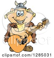 Clipart Of A Cartoon Happy Viking Playing An Acoustic Guitar Royalty Free Vector Illustration by Dennis Holmes Designs