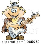 Clipart Of A Cartoon Happy Viking Playing An Electric Guitar Royalty Free Vector Illustration by Dennis Holmes Designs