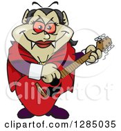 Clipart Of A Cartoon Happy Vampiress Playing An Acoustic Guitar Royalty Free Vector Illustration