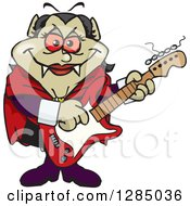 Clipart Of A Cartoon Happy Vampiress Playing An Electric Guitar Royalty Free Vector Illustration by Dennis Holmes Designs