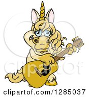 Clipart Of A Cartoon Happy Unicorn Playing An Acoustic Guitar Royalty Free Vector Illustration by Dennis Holmes Designs