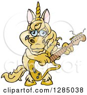 Clipart Of A Cartoon Happy Unicorn Playing An Electric Guitar Royalty Free Vector Illustration by Dennis Holmes Designs