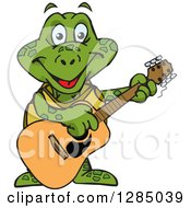 Clipart Of A Cartoon Happy Sea Turtle Playing An Acoustic Guitar Royalty Free Vector Illustration by Dennis Holmes Designs