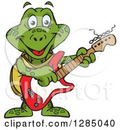 Clipart Of A Cartoon Happy Sea Turtle Playing An Electric Guitar Royalty Free Vector Illustration by Dennis Holmes Designs