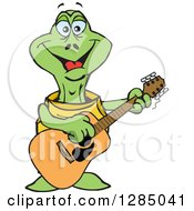 Clipart Of A Cartoon Happy Turtle Playing An Acoustic Guitar Royalty Free Vector Illustration by Dennis Holmes Designs