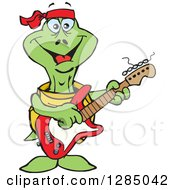 Clipart Of A Cartoon Happy Turtle Playing An Electric Guitar Royalty Free Vector Illustration by Dennis Holmes Designs