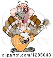 Clipart Of A Cartoon Happy Turkey Bird Playing An Acoustic Guitar Royalty Free Vector Illustration
