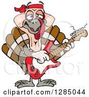 Cartoon Happy Turkey Bird Playing An Electric Guitar