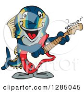 Clipart Of A Cartoon Happy Tuna Fish Playing An Acoustic Guitar Royalty Free Vector Illustration by Dennis Holmes Designs
