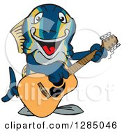 Clipart Of A Cartoon Happy Tuna Fish Playing An Electric Guitar Royalty Free Vector Illustration by Dennis Holmes Designs