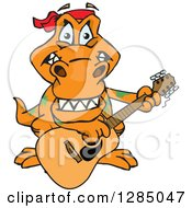 Clipart Of A Cartoon Happy T Rex Dinosaur Playing An Acoustic Guitar Royalty Free Vector Illustration by Dennis Holmes Designs