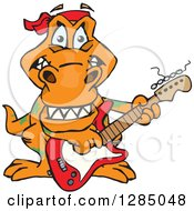 Clipart Of A Cartoon Happy T Rex Dinosaur Playing An Electric Guitar Royalty Free Vector Illustration by Dennis Holmes Designs