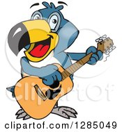 Clipart Of A Cartoon Happy Toucan Playing An Acoustic Guitar Royalty Free Vector Illustration