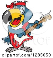 Clipart Of A Cartoon Happy Toucan Playing An Electric Guitar Royalty Free Vector Illustration