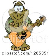 Clipart Of A Cartoon Happy Tortoise Playing An Acoustic Guitar Royalty Free Vector Illustration by Dennis Holmes Designs