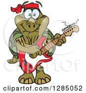 Clipart Of A Cartoon Happy Tortoise Playing An Electric Guitar Royalty Free Vector Illustration by Dennis Holmes Designs