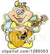 Clipart Of A Cartoon Happy Tooth Fairy Playing An Acoustic Guitar Royalty Free Vector Illustration