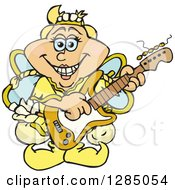 Clipart Of A Cartoon Happy Tooth Fairy Playing An Electric Guitar Royalty Free Vector Illustration by Dennis Holmes Designs
