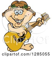Clipart Of A Cartoon Happy Greek Woman Playing An Acoustic Guitar Royalty Free Vector Illustration by Dennis Holmes Designs