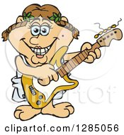 Clipart Of A Cartoon Happy Greek Woman Playing An Electric Guitar Royalty Free Vector Illustration by Dennis Holmes Designs