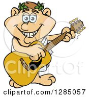 Clipart Of A Cartoon Happy Greek Man Playing An Acoustic Guitar Royalty Free Vector Illustration by Dennis Holmes Designs