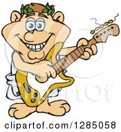 Clipart Of A Cartoon Happy Greek Man Playing An Electric Guitar Royalty Free Vector Illustration by Dennis Holmes Designs