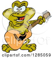 Clipart Of A Cartoon Happy Toad Playing An Acoustic Guitar Royalty Free Vector Illustration by Dennis Holmes Designs