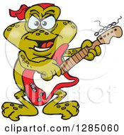 Clipart Of A Cartoon Happy Toad Playing An Electric Guitar Royalty Free Vector Illustration by Dennis Holmes Designs