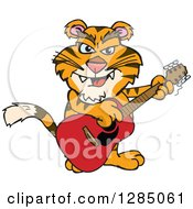 Clipart Of A Cartoon Happy Tiger Playing An Acoustic Guitar Royalty Free Vector Illustration by Dennis Holmes Designs