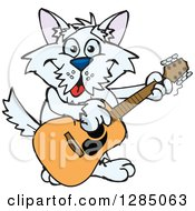 Cartoon Happy Terrier Dog Playing An Acoustic Guitar