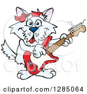 Clipart Of A Cartoon Happy Terrier Dog Playing An Electric Guitar Royalty Free Vector Illustration